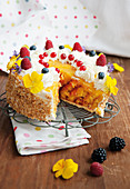 Mini wrap cake with cream and summer berries