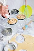 Mini shortcrust berry tartlets being made