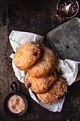 Vegan gluten free jam doughnuts with cinnamon sugar