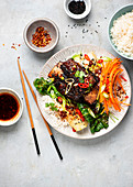 Korean-style beef ribs with bok choy and rice
