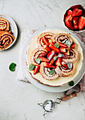 Strawberry quark cake with Swiss roll