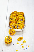 Turmeric crackers with cornflower blossoms
