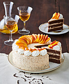 Chestnut cake with peaches