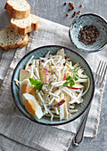 Celery and apple salad with boiled egg