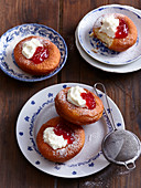 Carnival donuts with jam and cream