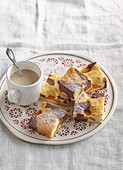 Bicolour tray cake with apricots