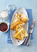 Coconut pancakes with caramel