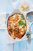 Pancake and minced meat lasagna