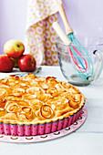 Apple rose pie with almond cream