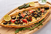 Turkish pide with vegetables