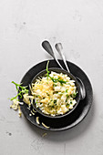 Asparagus risotto with rocket and Gruyere