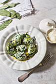 Gnudi alla toscana - Tuscan ricotta dumplings with spinach