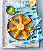 Fish fingers with avocado dip