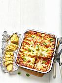 Classic lasagne and Crusty garlic bread