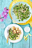 Gebratener Blumenkohl dazu Gerstensalat mit Frühlingsgemüse
