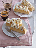 Egg yolk pastry boats with whipped cream and chocolate