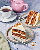 Carrot and walnut cake for afternoon tea