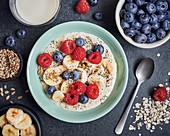Oats, berry and banana breakfast bowl