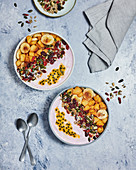 Caramelised fruit and yoghurt breakfast bowl
