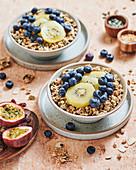 Granola and fruit breakfast bowl