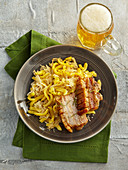 Baked flitch (pork belly) with cabbage spaetzle