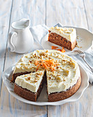 Carrot cake with cottage cheese topping