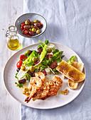 Greek salad with shrimps