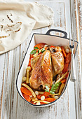 Baked guinea fowl with vegetables