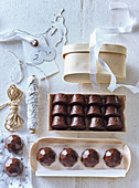 Chocolate pralines with nougat filling