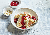 Empiror s pancakes with raspberries
