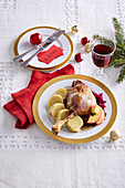 Festive baked goose with apples