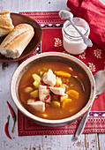 Hungarian fish soup with red spices