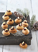 Layered walnut cookies with chocolate cream