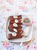 Lavender cake with honey whipped cream