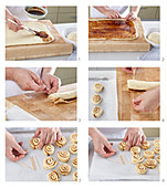 Preparing cinnamon twist rolls with icing