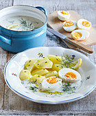 Creamy dill sauce with eggs