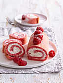Creamy raspberry roll