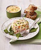 Egg jelly with ham and vegetables
