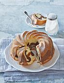 Layered fancy bread with custard