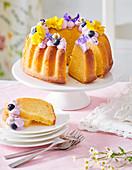 Lemon cake with blueberry cream