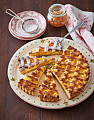 Linz Cake with apricots and cottage cheese