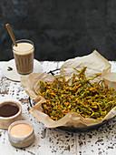 Samphire pakora with sauces (India)