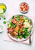 Salmon with a strawberry and basil salsa