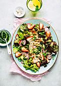BBQ chicken salad with strawberries