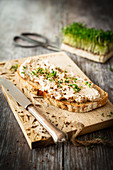 Country bread with a tuna and cream cheese spread