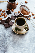 Turkish morning coffee with chocolate and almonds