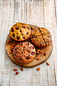 A trio of cherry and nut cakes