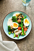 Curried egg salad with broccolini