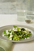 Vegan spring vegetable with feta and mintsauce