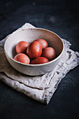Natural Easter eggs dyed with avocado skin